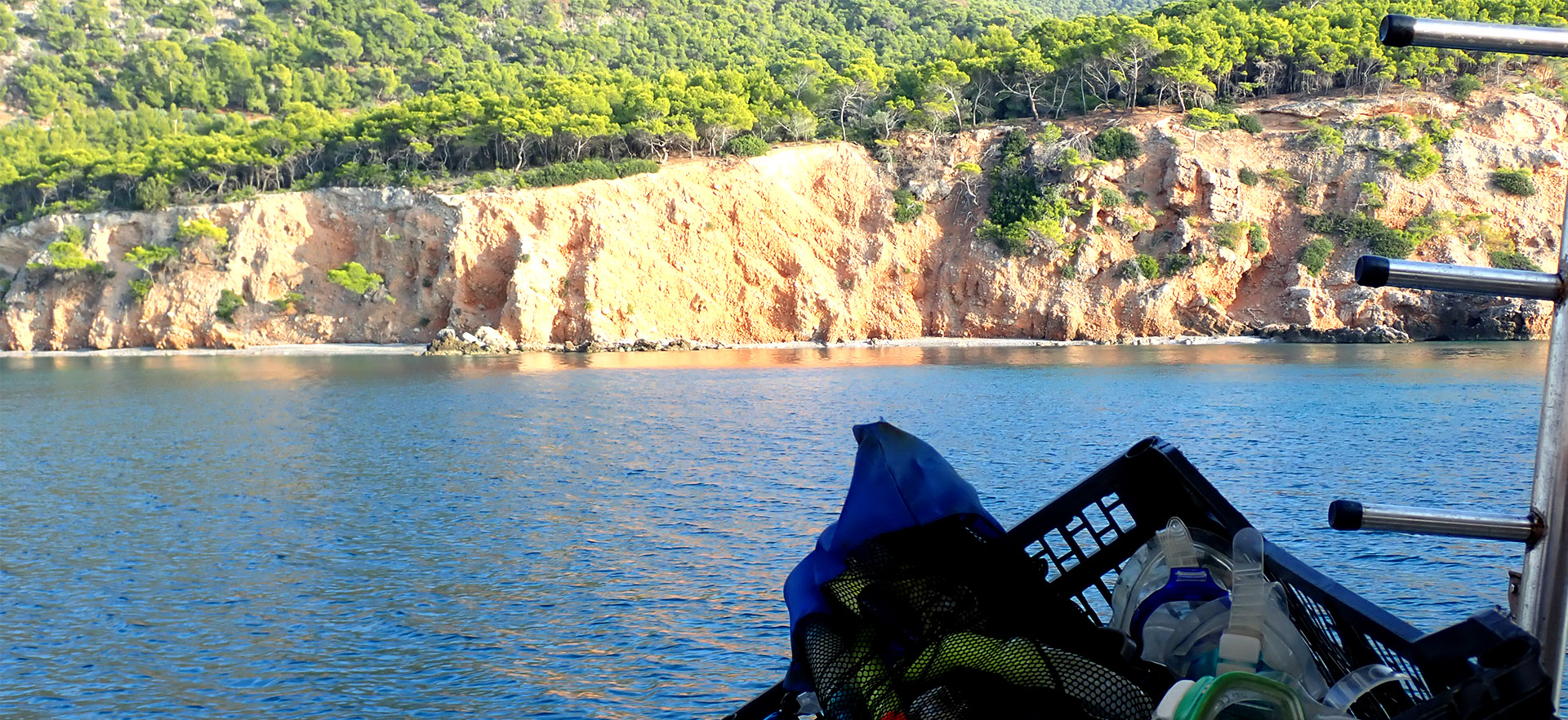Verdant cliff seen from moving boat